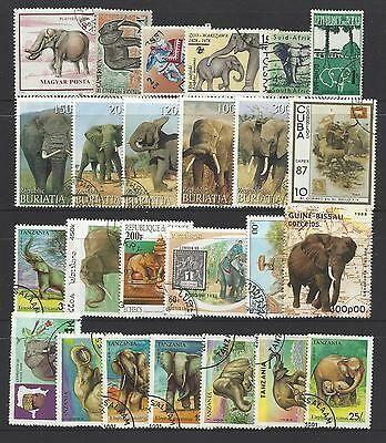 ELEPHANTS Collection Packet 25 Different WORLD ELEPHANT Stamps