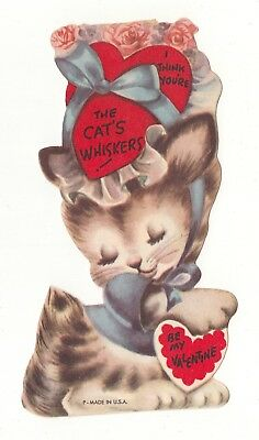 Vintage Greeting Card Valentine Die-Cut Kitten I Think You're The Cat's Whiskers