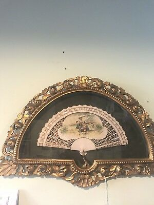 Antique 19th Century Victorian Hand Painted French Folding Fan/Gilt Frame