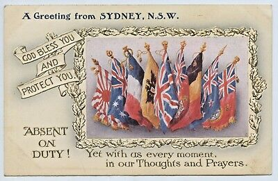 Ww1 C1914 Aust. Patriotic Postcard Allies Of The Empire Greeting From Sydney V66