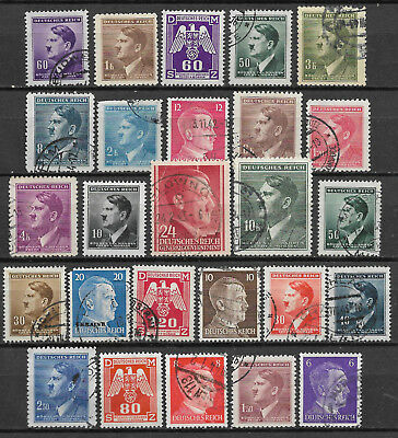 GERMANY ADOLF HITLER STAMP COLLECTION PACKET of 25 DIFFERENT Stamps Used