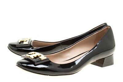 ba952271a4a Tory Burch Gigi Pump Black Patent Leather Round Block Heel Pumps  Size 7  NWTBOX