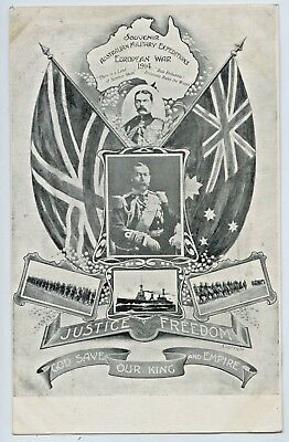 1914 Npu Postcard Aust Military Expeditions Europen War Justice Freedom V67