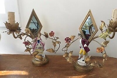 Pair Antique French Ormolu Floral Candelabra /Figurine, Gold, gilt.. or finish..