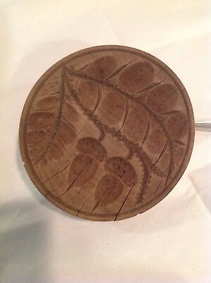 Primitive Antique Folk Art Carved Wood Butter Mold Press Stamp Acorn Leaf Europe