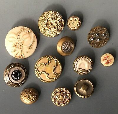 Antique Button Group Old Glass, Celluloid, Metal & Glass In Metal
