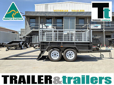8x5 TANDEM AXLE HEAVY DUTY ALL-PURPOSE TRAILER +CAGE +RACKS +RAMPS +JOCKEY