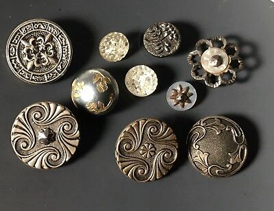 Antique Button Group Of 10 Paris Metals, Painted Back Glass, Old Steel & Pearls
