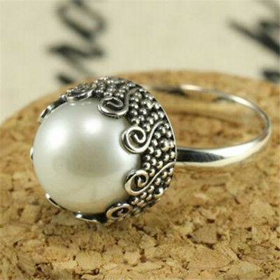 Vintage Women White Pearl 925 Silver Wedding Engagement Proposal Ring Size 6-10