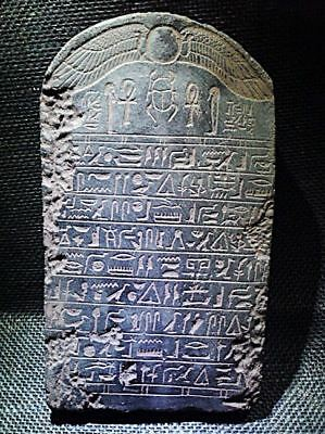 Egyptian Antiques Antiquities Winged Sun Disk Stela Plaque Relief 1215-1279 Bc