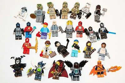 Lego Minifigures Lot Of 26 Star Wars Marvel & Others Mini Figure all with extras