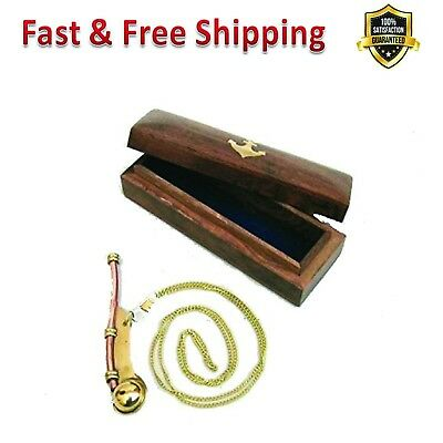 Copper Bosun Whistle Hand Crafted Brass Metal Nautical Collection Wooden Box New