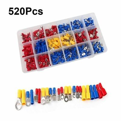 520Pcs Assorted Crimp Terminals Set Insulated Electrical Wiring Connector Kit TO