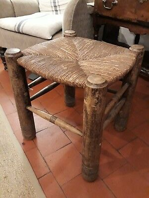 Lovely Arts And Craft Turned Rush Seated Stool