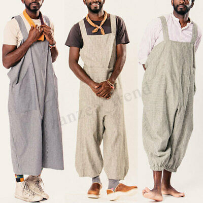 Mens Womens Striped Overalls Dungarees Suspender Harem Trousers Pants Jumpsuits