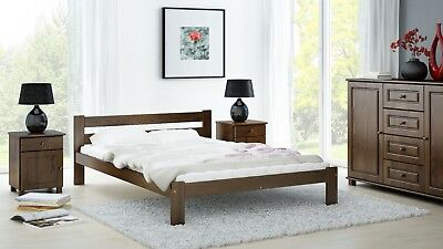 Solid Pine Wood Walnut Colour Bed Frame 3ft Single 4ft Small Double Size Slats