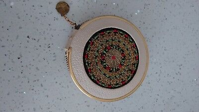 Vintage Leather and Stitched Powder Compact