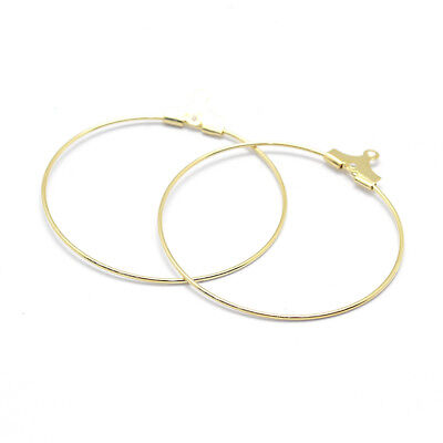 10PCS Golden Brass Hoop Earring Findings For Earring Making Nickel Free 30x1.2mm