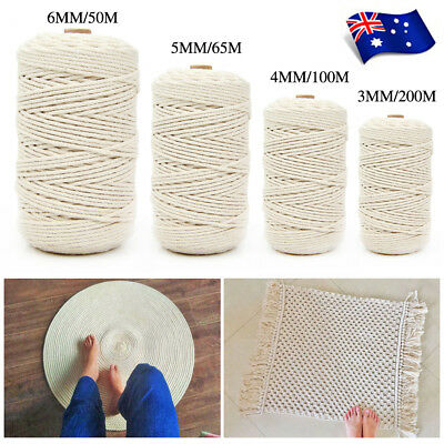 3/4/5/6mm Natural Cotton Cord Twine Braided Rope Cord Sash String Craft Macrame