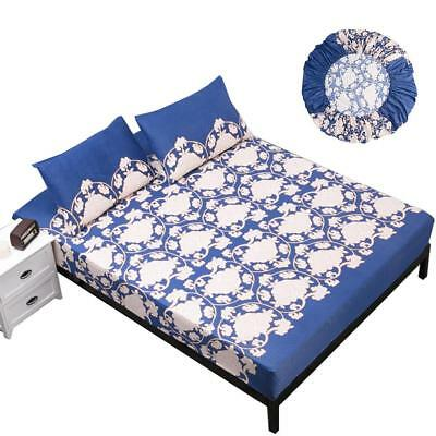 Cotton Fitted Sheet Queen Bed Cover Coverlet Set Pillowcases Comfort Printed