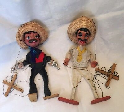 2 Vintage Marionette Puppets Mexican Gunslinger Hand Painted Faces