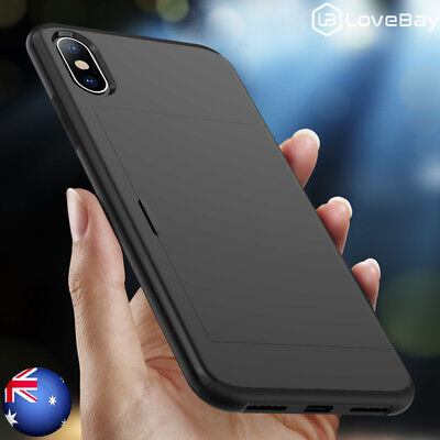 For iPhone X 7 8 XS Max XR  Shockproof Armor Slide Card Wallet Hybrid Case Cover