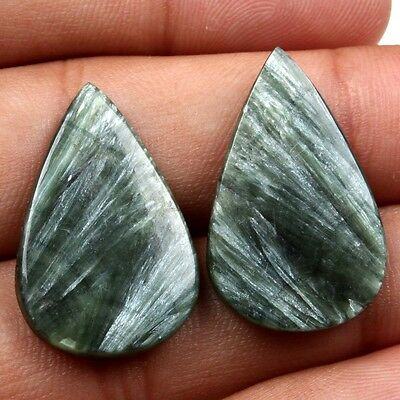 Gorgeous 24 Cts Natural SERAPHINITE Flat Cabochon Gemstone Pear 27x17 mm s-18563
