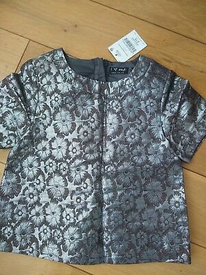 BNWT Next Girls Silver Jacquard Top size 7 years