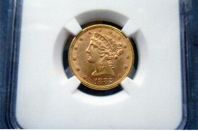 1882 $5 Gold Liberty Head Half Eagle - NCG MS62+  Almost 63! 136 Year Old Coin!