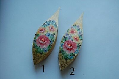 Large Wooden Tatting Shuttle Hand Made in Maple With Pick Decorated W/Painting