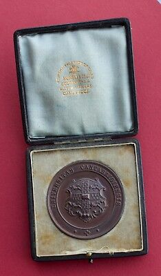 Cambridge University 1909 - Caius College Bronze Rowing Medal By Peters - Boxed.