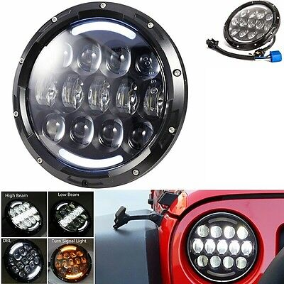 "Coppia Fari led 7"" angel eyes, jeep wrangler, defender Hummer funz. frecce - DHL"
