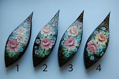 Wooden Tatting Shuttle With Pick Hand Made in Black Wood Decorated With Painting