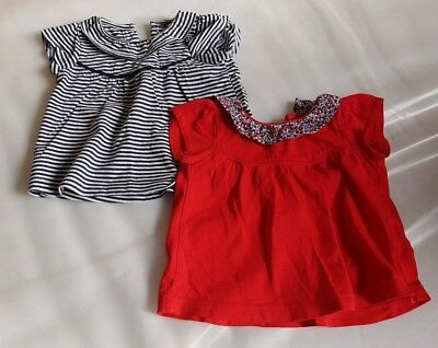 Next 2 short sleeved tops navy stripe and red age 0-3 months