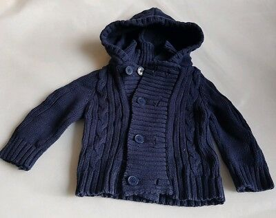 Jojo Maman Bebe navy hooded chunky cardigan age 6-12 months