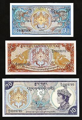 Bhutan 3 Pcs Set 1 5 10 Ngultrum  Unc 1985 1986 P-12 14 15