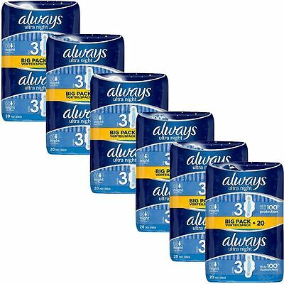 Always Ultra Nuit Serviettes Hygiéniques Tampons Taille 3 Ailes Femmes