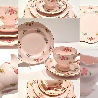 Tuscan Tea cup saucer sets and cake pink flowers Afternoon tea party china