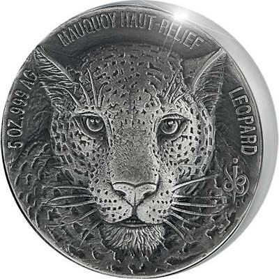 Mauquoy Haut Relief Leopard Big five 5oz Ant fin Ag Coin 5000fr Ivory Coast 2018