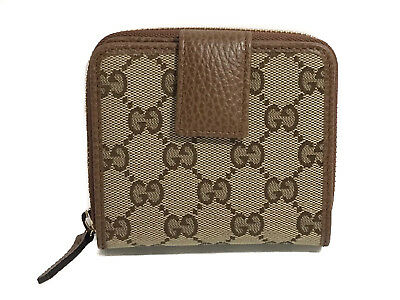 51656fe353fc NIB GUCCI 346056 Women's Leather French Zip Around Wallet, Brown ...