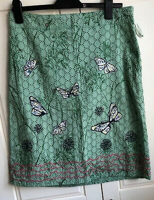 White Stuff Green Cotton  Embroidered Skirt Size 12