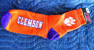 Clemson Tigers Adult Quarter Socks- 1 Pair- Large Brand New Free S/H
