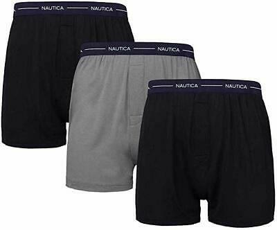 Nautica Men's Classic Boxer Briefs Modal 3 Pack, Assorted Blue Size Large