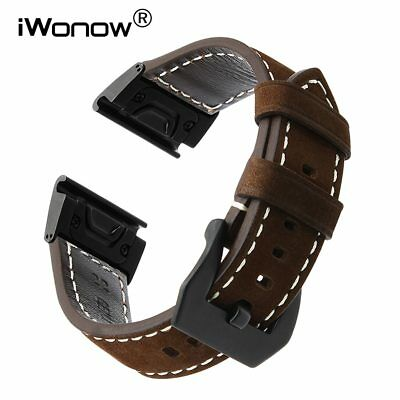 26mm Easy Fit Genuine Leather Watchband for  Fenix 3/3 HR/5X/5X Plus Watch Ba...