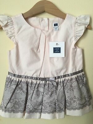 Janie and Jack Prima Ballerina 18-24 NWT Top Peplum Gray Lace & Ribbon Look Pink