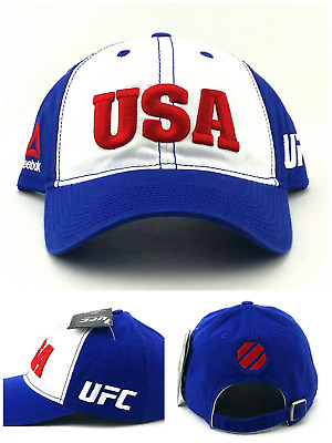 bd0cbecb9fa UFC Reebok New MMA White Blue Country Pride USA Era Clean Up Relaxed Dad Hat  Cap