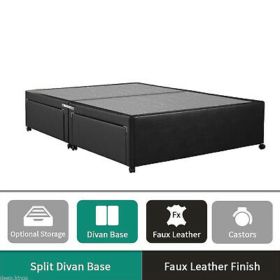 Divan Base Black Faux Leather - Divan Bed Base with Underbed Drawers Storage