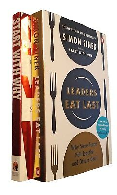 Sim Sinek 2 Books Start With Why + Leaders Eat Last Business Strategy Ethics New