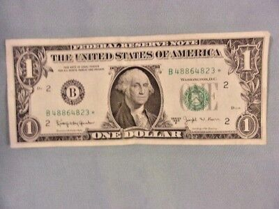 1963-B $1 FEDERAL RESERVE BARR *STAR* NOTE, New York District, #B48864823*