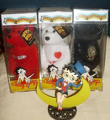 Lot/4 BETTY BOOP: Betty On CRESCENT MOON & 3 NEW Sealed Different BEARS, 1999